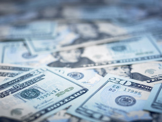 Close up of 20 dollar bills