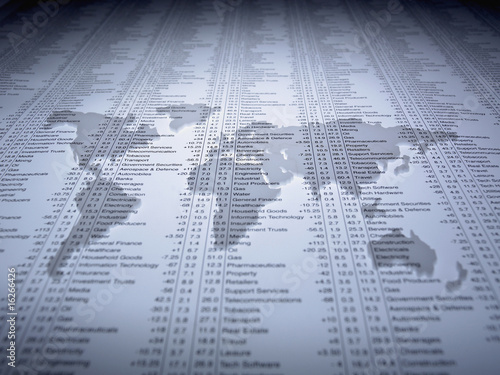 World map outline on list of share prices