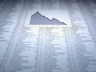 Descending line graph and list of share prices