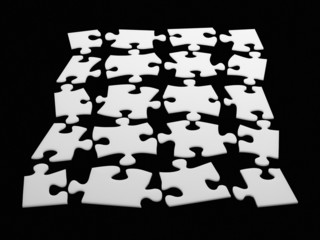 Individual puzzle pieces in puzzle shape