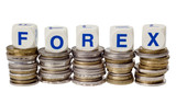 Stacks of coins with the word FOREX isolated on white poster