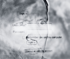 Montage of man?s face with computer screen