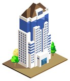 High Building Isometric vector