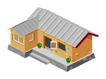 Biedny dom wektor izometryczny