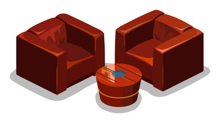 Red Sofa Isometric Vector