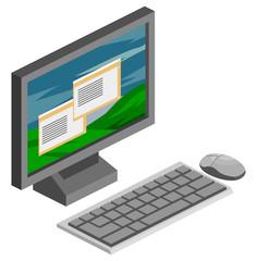 Computer Isometric Vector