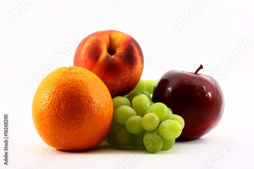 Orange Peach Grapes Apple