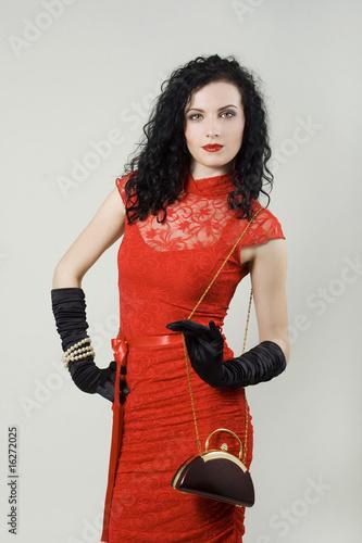 In de dag Art Studio Portrait of woman wearing red dress