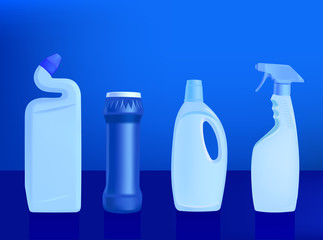 detergents - vector illustration on blue background