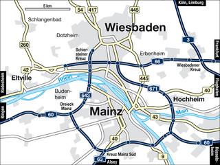 Stadtplan Mainz/Wiesbaden
