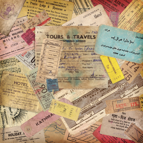 vintage travel background made of old documents