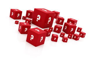 """red """"question mark"""" cubes falling"""