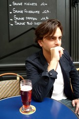 Drinking beer in a parisian café