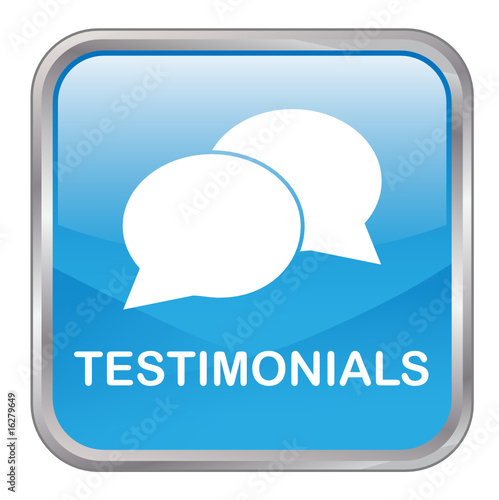 "Square vector button ""TESTIMONIALS"" (blue)"