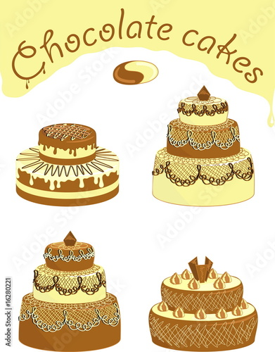 Appetizing chocolate cakes, vector image