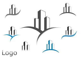 Logo building gris bleu