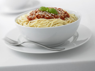 Close up of spaghetti in bowl