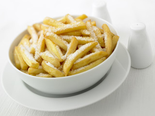 Close up of over-salted french fries