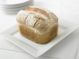 Close up of fresh loaf of bread