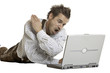 Bayer ist wütend auf seinen laptop - angry on notebook