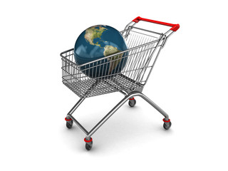 shopping cart with earth