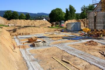 Baustelle für ein Wohnhaus