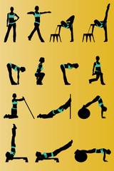 Siluetas tabla ejercicio fitness