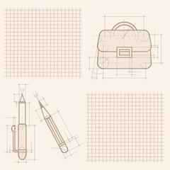 drawings on notebook sheet