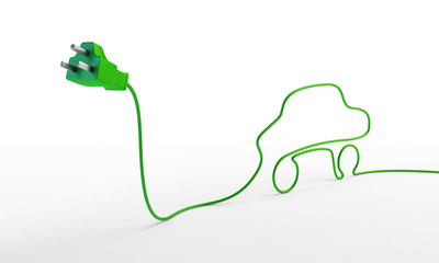 Electric car concept - electric plug with a car-shaped cord.