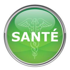 """Bouton rond """"SANTE"""" (vecteur ; vert)"""