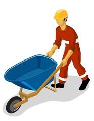 wheelbarrow on construction