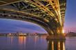 Leinwanddruck Bild - Mainz Panorama mit Theodor Heuss Brücke