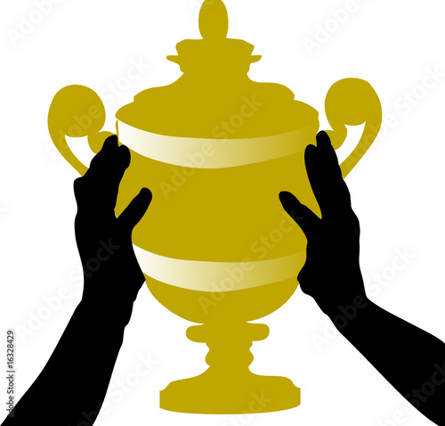 gold trophy in hand illustration