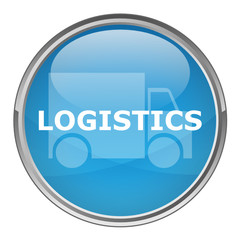 "Circular ""LOGISTICS"" button (vector; blue)"