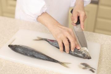 魚を捌く手