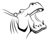 Hippopotamus head as a mascot poster