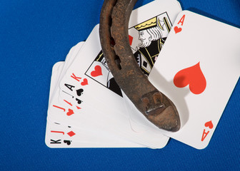 cards and horseshoe
