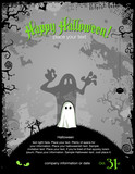 Halloween party invitation or background with cute little ghost