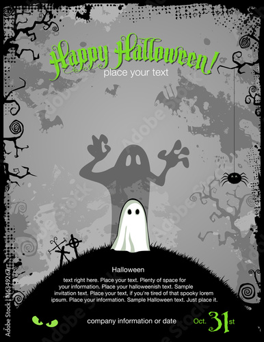 Fototapeta Halloween party invitation or background with cute little ghost