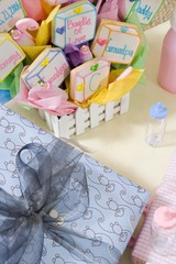 Baby Shower Gifts arranged on Table