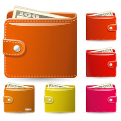 colorful collection of leather wallets