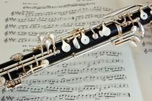 Oboe instrument above music manuscript