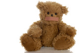 stuffed teddy bear with bandaid on mouth ..