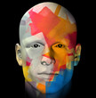 Male portrait and colorful geometric pattern illustration.