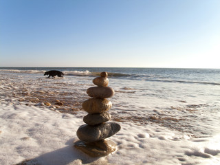 Rock cairn on beach