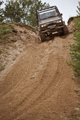 Off road truck in trial competition