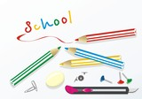 Set of stationeries for school. Vector poster