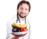 Young male doctor advicing healthy natural food poster