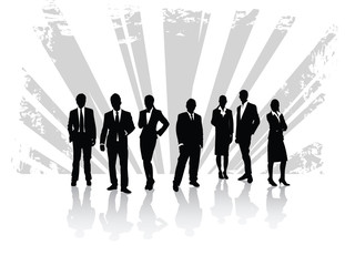men and woman in business with ray background