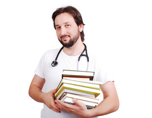 Young male doctor with books in hands